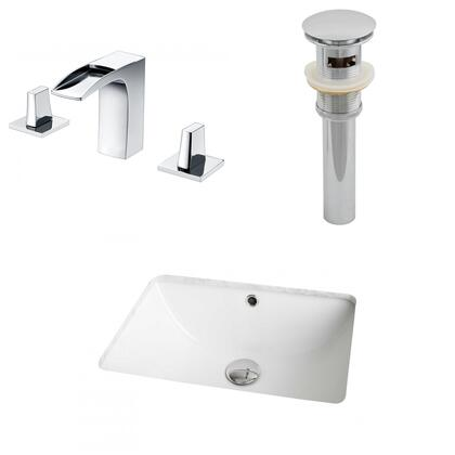 AI-13065 18.25-in. Width x 13.75-in. Diameter CUPC Rectangle Undermount Sink Set In White With 8-in. o.c. CUPC Faucet And