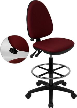 WL-A654MG-BY-D-GG Mid-Back Burgundy Fabric Multi-Functional Drafting Stool with Adjustable Lumbar