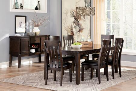 Haddigan 8-Piece Dining Room Set with Extendable Table  6 Side Chairs and Server Cabinet in Dark Brown