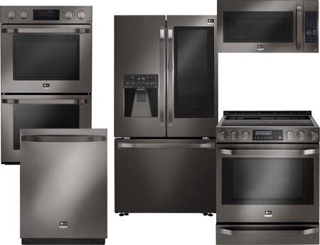 5-Piece Black Stainless Steel Kitchen Package with LSFXC2496D 36 inch  French Door Refrigerator  LSSE3029BD 30 inch  Slide-In Electric Range  LSMC3089BD 30 inch  OTR