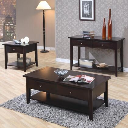 700967 Whitehall End Table + Sofa Table + Coffee Table with Shelf  One Drawer  Metal Knob  Smooth Tops and Straight Edges in Cappuccino