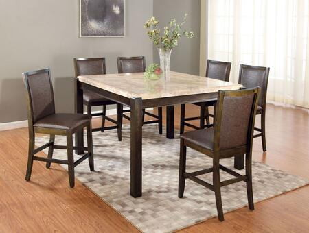 Charissa 70755T6C 7 PC Bar Table Set with Counter Height Table + 6 Chairs in Dark Walnut