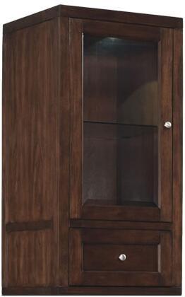 Wesleyan EC6449US22-C247 22 inch  Storage Top with Glass Door  Glass Shelf  Flip-Down Compartment and Interior Lighting in Meridian Cherry