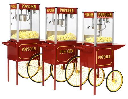 1116110 Theater Pop Poppers 16-Oz. Popcorn Machine with Built-In Warming Deck in Theater Red Finish and Popcorn