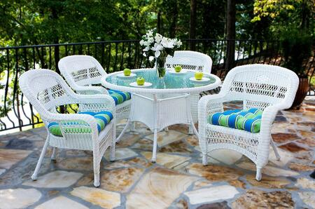 Portside PSD-WH HALIW 5 Piece Dining Set with Round Table and 4 Chairs in White with Haliwell Caribbean