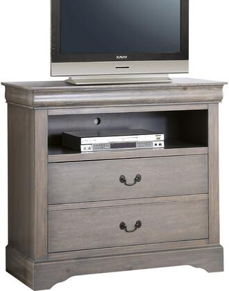 Louis Philippe III Collection 25507 37 inch  TV Console with 2 Drawers  1 Open Compartment  Brushed Nickel Metal Handles  Pine Wood and Gum Veneer Materials in
