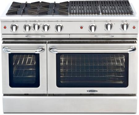 Capital Culinarian Series CGSR484BBL 48 Inch Pro-Style Gas Range with 4 Open Burners, True Simmer, Two 18K BTU Broil Burners, 4.6 cu. ft. Convection Oven with Rotisserie, 2.1 cu. ft. Secondary Oven, Self Clean, Infrared Glass Broiler and Titanium Speck P