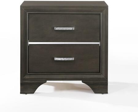 Carine Collection 26263 24 inch  Nightstand with 2 Drawers  Metal Hardware  Wooden Bracket Leg  Acrylic and Solid Rubberwood Materials in Grey