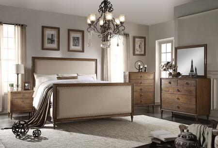 Inverness Collection 26087EKSET 5 PC Bedroom Set with King Size Bed + Dresser + Mirror + Chest + Nightstand in Reclaimed Oak