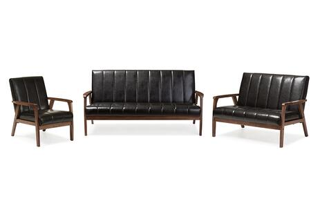 BBT8011A2-BLACK 3PC SET Baxton Studio Nikko Mid-century Modern Scandinavian Style Black Faux Leather 3 Pieces Living Room