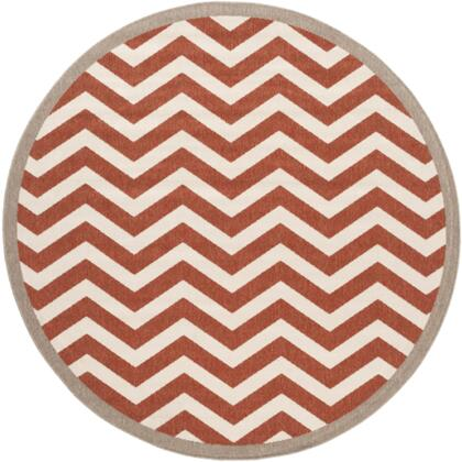 Alfresco ALF9647-73RD 7'3 inch  Round 100% Polypropylene Rug with Low Pile  Loop Texture  and Machine Made in Egypt in Cherry and