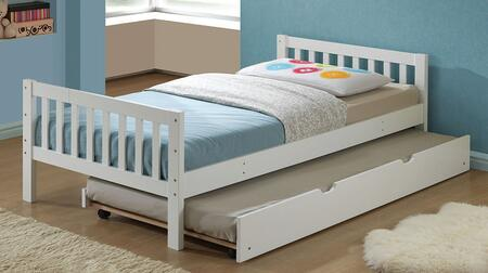 Cutie 37075TT 2 PC Bedroom Set with Twin Size Panel Bed + Trundle in White