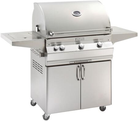 A660S5EAN62 Aurora 63 inch  Cart with 30 inch  Natural Gas Grill  E-Burners  Side Burner  Side Shelf  Analog Thermometer  and Up to 75000 BTUs Heat Output  in Stainless