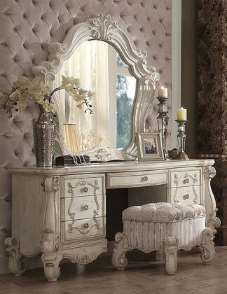 Versailles Collection 211373SET 2 PC Vanity Set with Vanity Desk  Vanity Stool and Mirror in Bone White