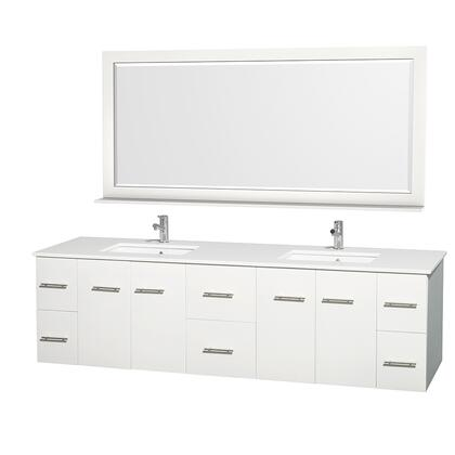 WCVW00980DWHWSUNSM70 80 in. Double Bathroom Vanity in White  White Man-Made Stone Countertop  Undermount Square Sink  and 70 in.