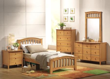 08940TDMCN San Marino Twin Size Bed + Dresser + Mirror + Chest + Nightstand in Maple