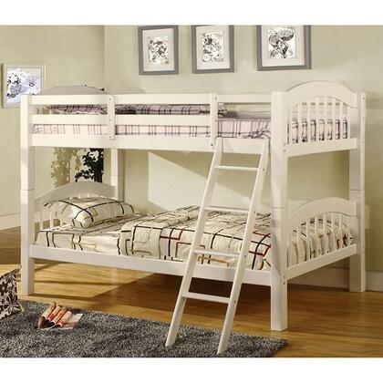 Coney Island Collection CM-BK524-W-BED Twin Size Bunk Bed with Picket Fence Design  Front Access Fixed Ladder  Solid Wood and Wood Veneer Construction in White