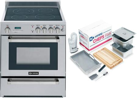 2-Piece Stainless Steel Kitchen Package with VEFSEE244PSS 24 inch  Freestanding Electric Range and Chefs