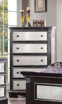 Athena Silver Collection 20926 59 inch  Chest with 5 Mirror Insert Drawers  Bronze Metal Hardware and Pine Wood Construction in Espresso