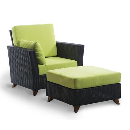 PR2530-G 2-Piece Patio Set with Rattan Deep Arm Chair and Ottoman in
