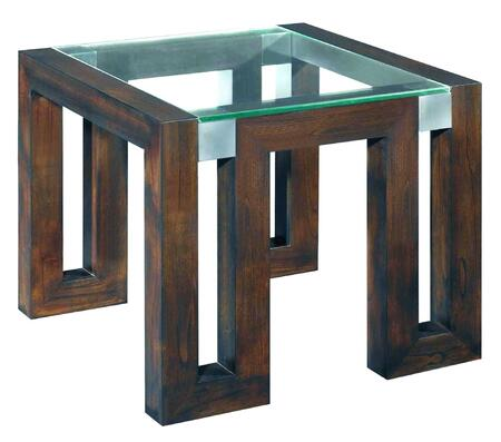 30504-02-G Calligraphy Square Glass Top End Table in Espresso Finish With Brushed Stainless Steel