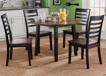 Cafe Collection 56-CD-5ROS 5-Piece Dining Room Set with Round Dining Table and 4 Side Chairs in Black and Cherry