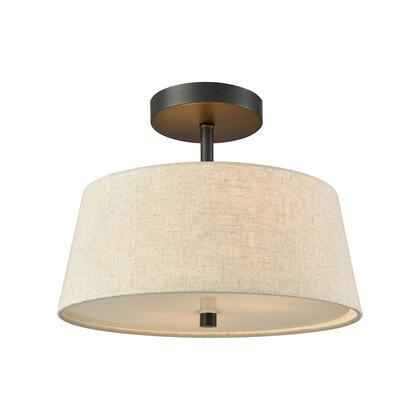 Cn600361 Morgan 2 Light Semi Flush In Oil Rubbed Bronze With Beige Fabric Shade And White Glass