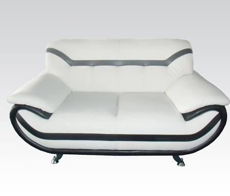 Rozene Collection 51156 61 inch  Loveseat with Chrome Legs  Tufted Back Cushions  Wood Frame and Bonded Leather Upholstery in Black and White