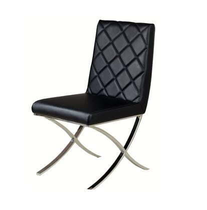 Loft Collection CB-922-BL Dining Chair with Mid High Backrest  Modern Style  Chrome Metal Base  Commercial Grade and Eco-Leather Upholstery in Black