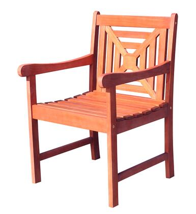 V1604 Malibu Eco-Friendly Outdoor Hardwood Garden Arm Chair  Natural