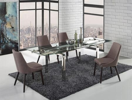 Cloud Collection CBD2048SSCSET 5 PC Dining Room Set with Extendable Stainless Steel Dining Table and 4 Dark Grey Linen Upholstered Dining
