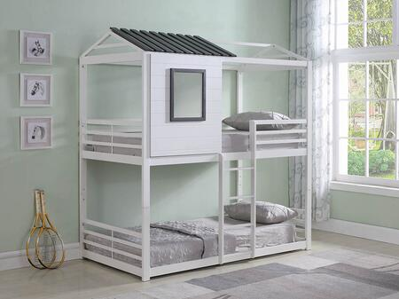 Belton Collection 461161 Twin Size Bunk Bed with Slatted Panels  Built-In Ladder and Steel Metal Construction in White and