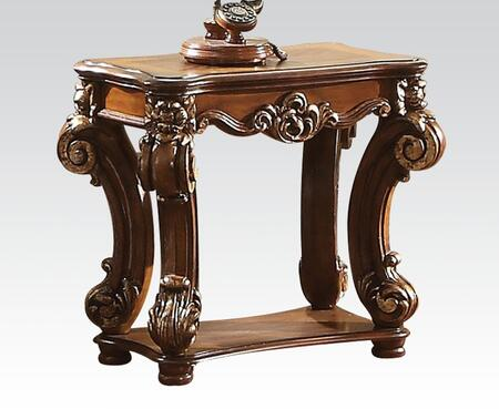 82001 Vendome Square End Table with Bottom Shelf  Solid Wood Leg and Carved Apron in