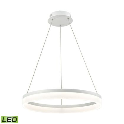 LC2301-N-30 Cycloid 1 Light LED Pendant In Matte White With Acrylic Diffuser -