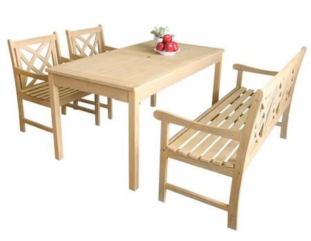 Beverly Collection V1701set3 Outdoor Dining Set With Rectangular Table + 2 Armchairs + 1 57 Bench In Sand-splashed