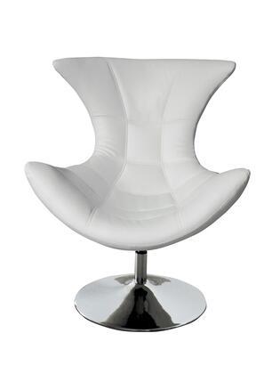 CH1340WHT Charlotte Swivel Chair  White Faux Leather  Chrome