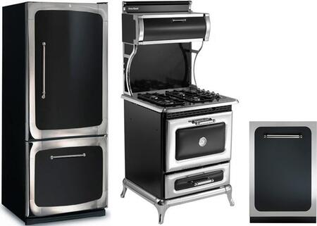3-Piece Black Kitchen Package with 301500RBLK 30 inch  Bottom Freezer Refrigerator  4210CDGBLK 30 inch  Freestanding Dual Fuel Range  and HCTTDWBLK 24 inch  Fully Integrated