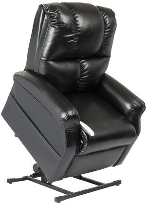 Main Street NM2001-SKB-A01 33 inch  Power Recliner Lift Chair with 3 Position Mechanism  Divided Back  and Sinuous Spring and Foam Seat in Lexi Black