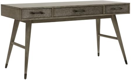 DS-D198-802 Metal Drawer Desk with 3 Drawers  Full-Extension Glides and Decorative Hardware in Gray