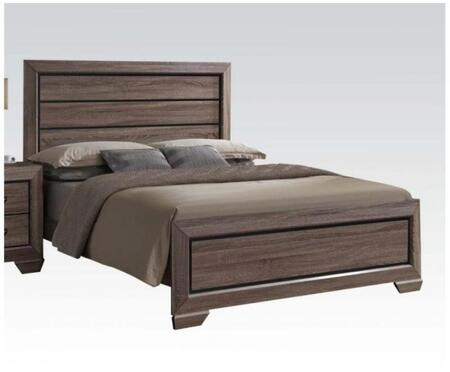 Lyndon Collection 26017EK King Size Bed with Low Profile Footboard  Shaker Style Sloped Legs  Solid Tropical Wood and Paper Veneer Materials in Weathered Grey