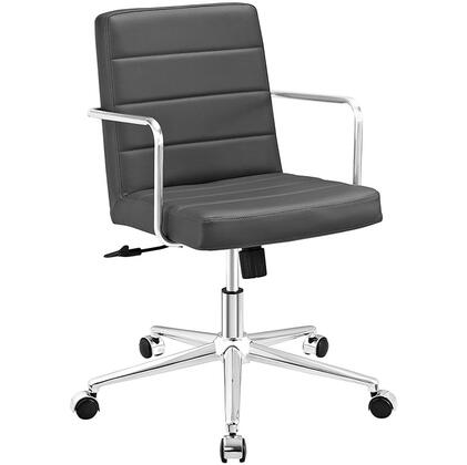 Cavalier Collection EEI-2125-GRY Office Chair with Swivel Seat  Adjustable Height  Dual-Wheel Nylon Casters  Brushed Stainless Steel Armrests  Polished Chrome