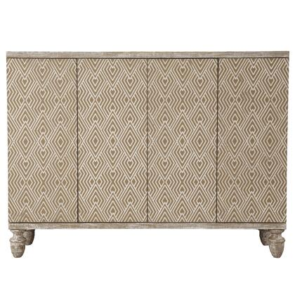 D153129 Modern Heavily Distressed Oak Finish Four Door Credenza In
