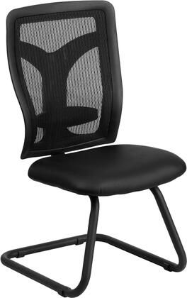 WL-F065V-LEA-GG Galaxy Black Mesh Side Chair with Leather Seat and Adjustable Lumbar