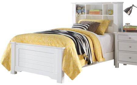 Mallowsea Collection 30410T Twin Size Bed with Bookcase Headboard  Low Profile Footboard and Solid Pine Wood Construction in White