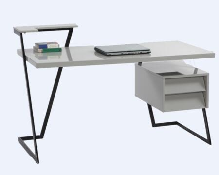 Chintaly 6926-DSK Gloss Gray 2 Drawer Modern Computer Desk with Gloss Black
