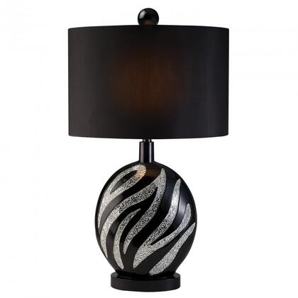 Stacey L94243T Table Lamp with Transitional Style  Elegant Zebra Pattern  Crackled Glass Strips  Glossy Black Finish in