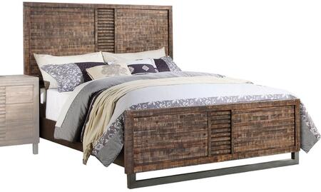 Andria Collection 21287EK King Size Bed with Nickel Metal Legs  Low Profile Footboard  High Headboard and Acacia Wood Construction in Reclaimed Oak