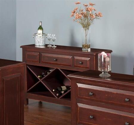"""2270R-S 54"""""""" Red Accent Sofa Table with 2 Drawers  Distressed Mohagany Solids and Veneers in Red -  Sunny Designs, 2270RS"""