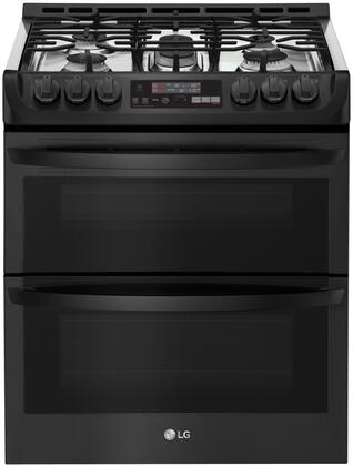 LTG4715BM Slide-In Gas Range with Double Ovens  ProBake  Self EasyClean  and 6.9 cu. ft. Capacity  in Matte Black Stainless