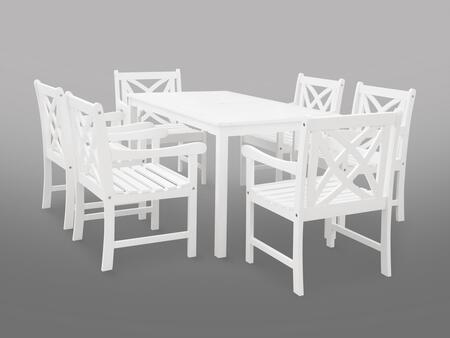 V1336SET19 Bradley Eco-friendly 7-piece Outdoor White Hardwood Dining Set with Rectangle Table and Arm
